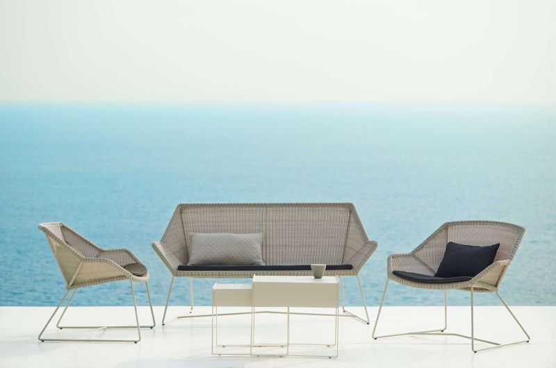 BREEZE Lounge-Sessel in weiss-grau mit passender Bank