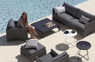 DIAMOND Lounge in grau mit Sunbrella-Natte Polstern - dazu ON-THE-MOVE Tische